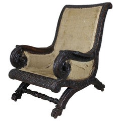 19th Century Burmese Anglo Indian Rosewood Armchair