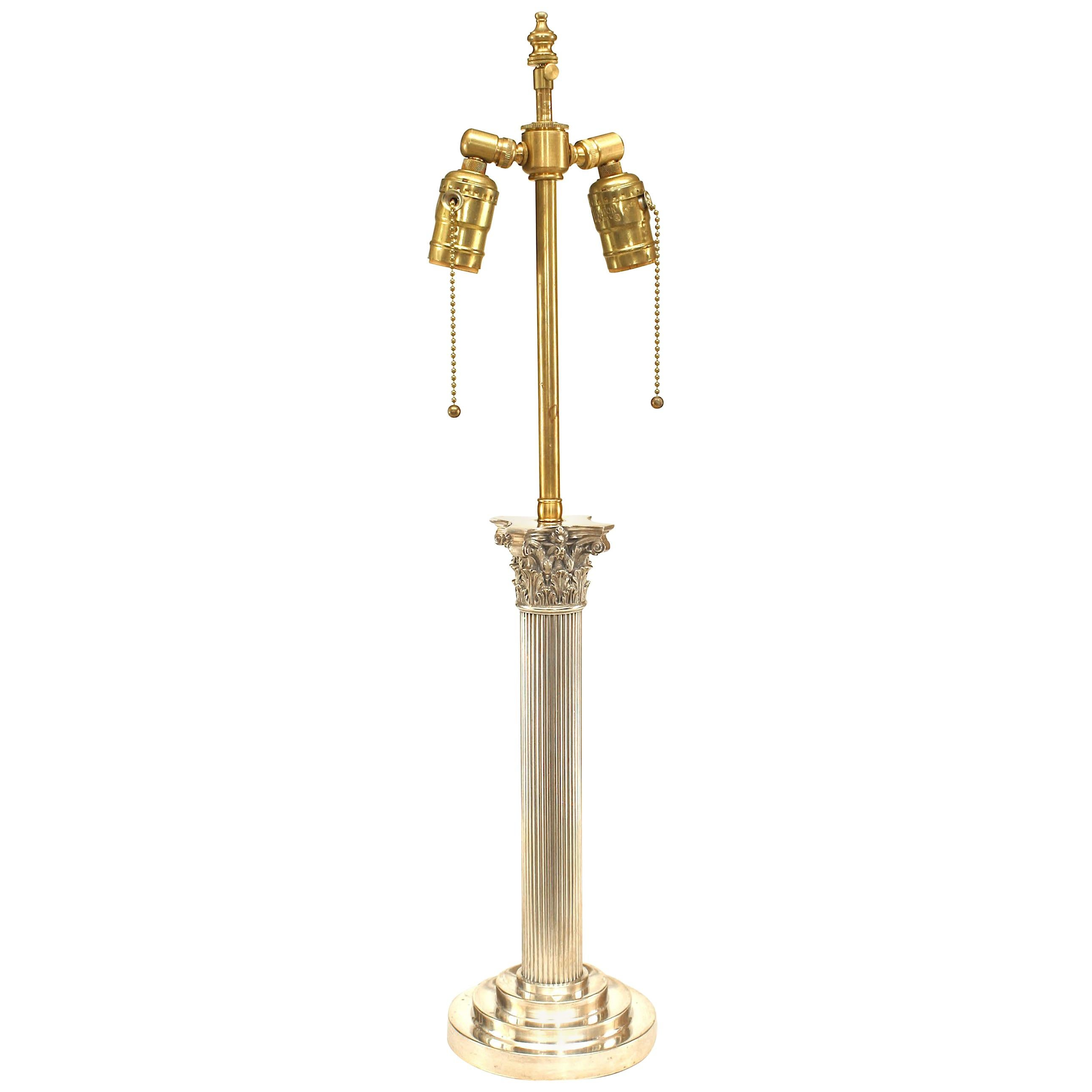English Adam Style Silver Plate Column Table Lamp
