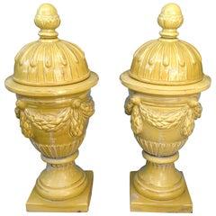 Pair of Massive Glazed Terracotta Garden Urns
