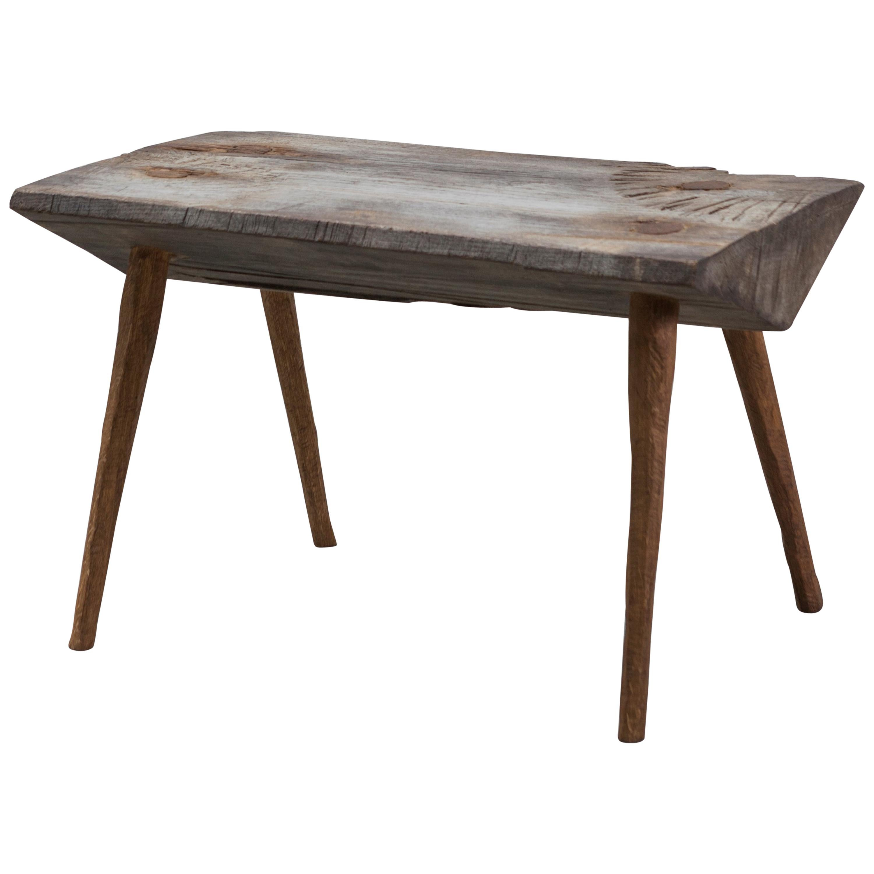 Contemporary Brutalist Style Small Table #9 in Solid Oak and Linseed Oil