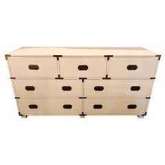 Baker Campaign Chest Having Bronze Pull Spectacular White Lacquer Finish