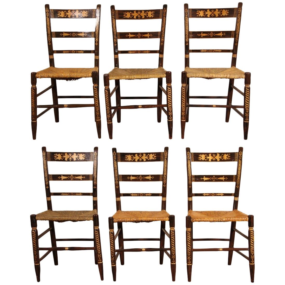 Set Of Six Early Faux Painted Rush Seat Chairs