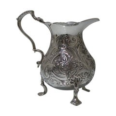 Mid-18th Century Antique George II Rococo Sterling Silver Cream Jug London, 1748