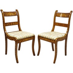 Pair of 19th Century Satinwood Dutch Marquetry Inlay Regency Side Chairs