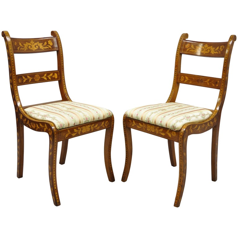 Pair of 19th Century Satinwood Dutch Marquetry Inlay Regency Side Chairs For Sale