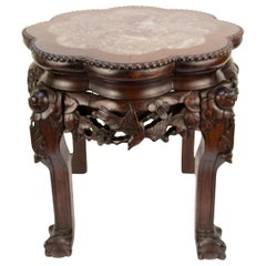 Chinese Carved Hardwood Pot Stand with Shaped Marble Inlaid Top