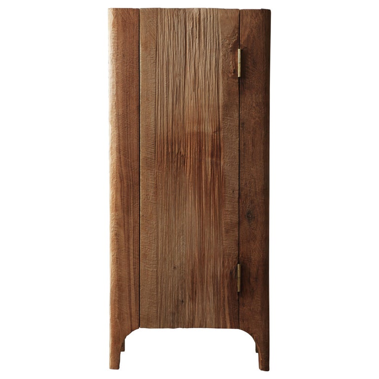 Contemporary Brutalist Style Wardrobe in Solid Oak and Linseed Oil For Sale