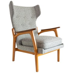 Scandinavian Modern Wingback Chair with a Solid Beech Wood Frame and Teak Arms