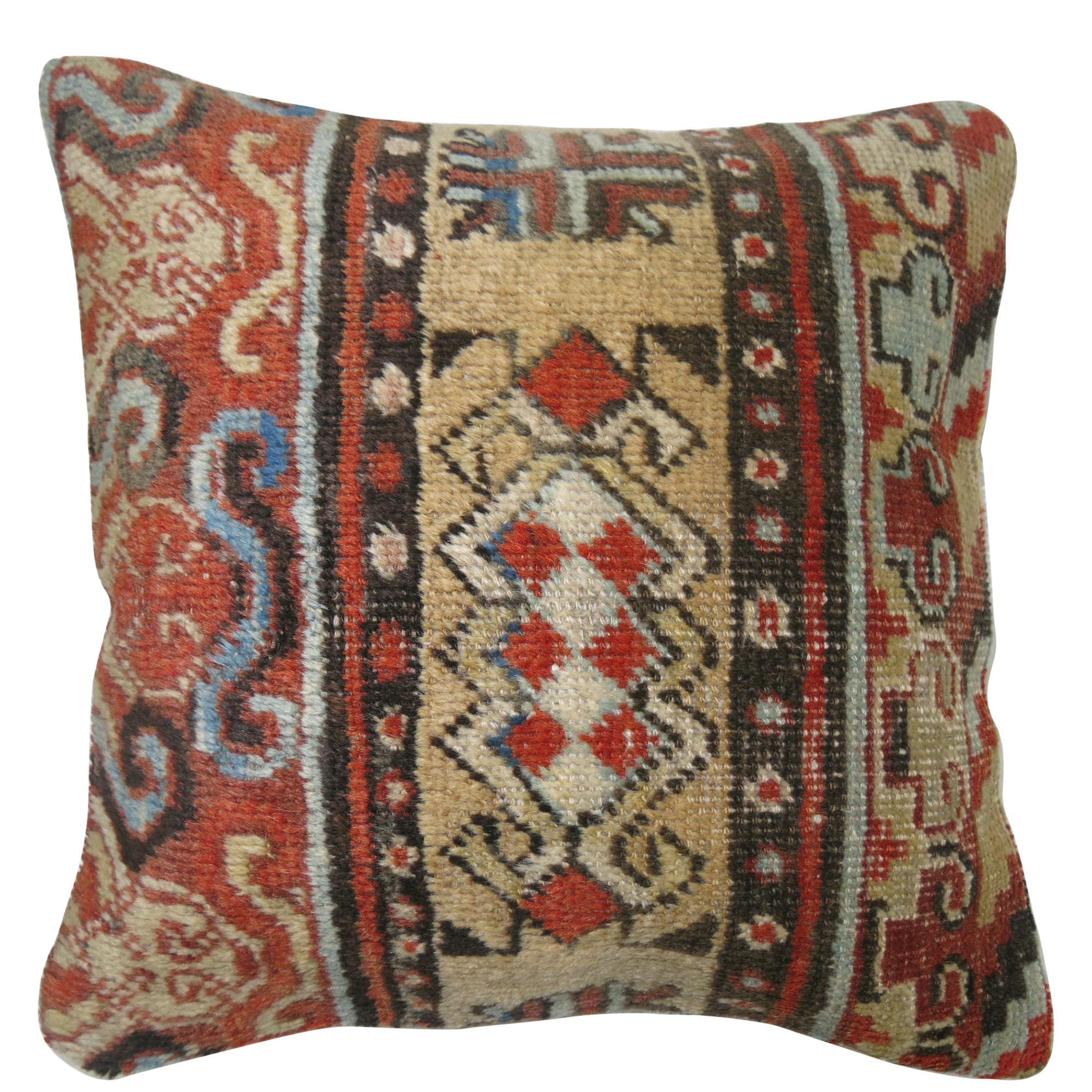 Rustic Antique Khotan Rug Pillow