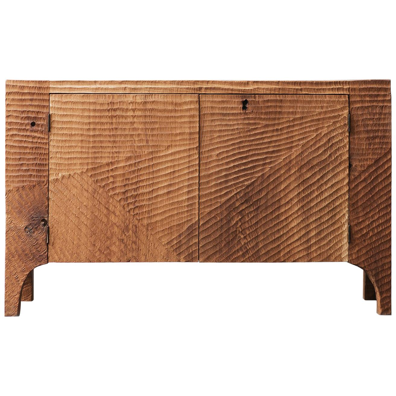 Contemporary Brutalist Style Commode in Solid Oak and Linseed Oil