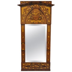 19th Century Satinwood Dutch Marquetry Inlaid Beveled Glass Console Wall Mirror
