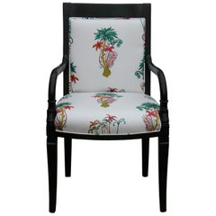 Custom Green Dyed French Armchair with Tropical Palm Tree Upholstery