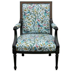 Custom Green Dyed French Armchair with Tropical Animalia Upholstery