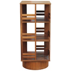 Modern Danish Brazilian Rosewood Revolving Bookcase or Shelf