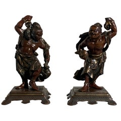 Pair of Japanese Cast Bronze Figures of Niō, Meiji Period, Late 19th Century