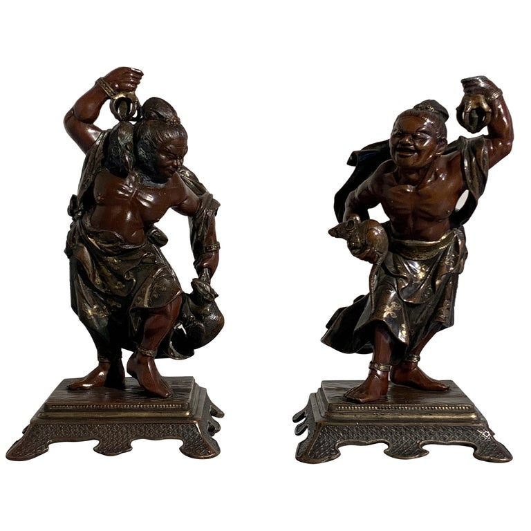 Pair of Japanese Cast Bronze Figures of Niō, Meiji Period, Late 19th Century For Sale