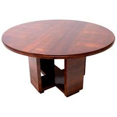 Art Deco Round Dining Table in Walnut by Vlastimil Brozek, 1930s