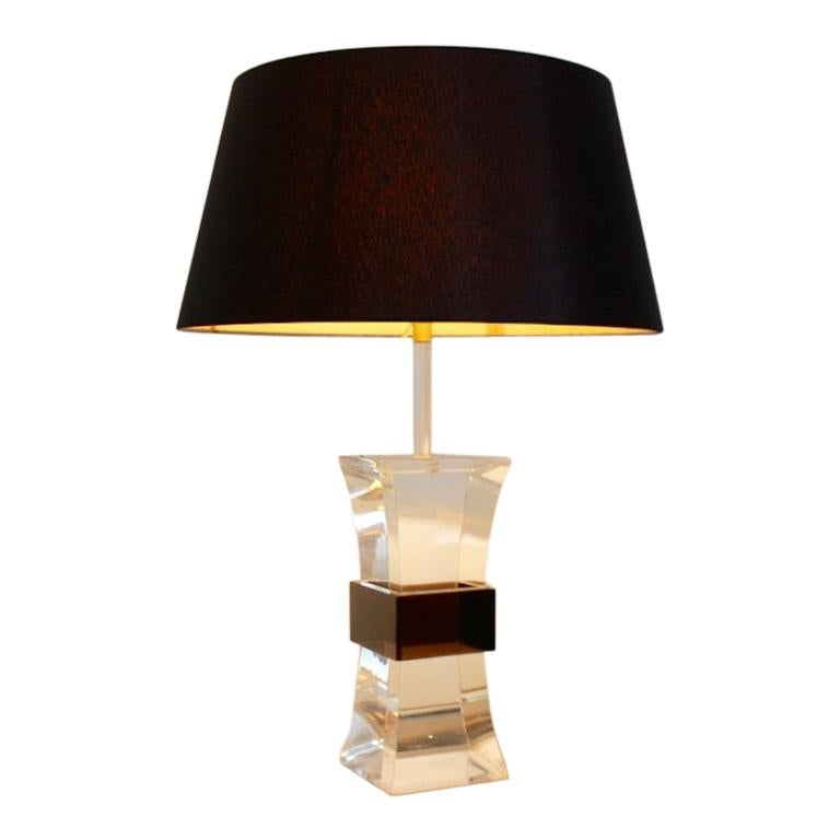 France Mid-Century Modern Two-Color Lucite Table Lamp, 1970s