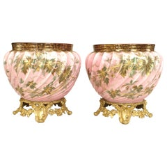 Pair of French Victorian Style Floral Fluted Design Cachepots