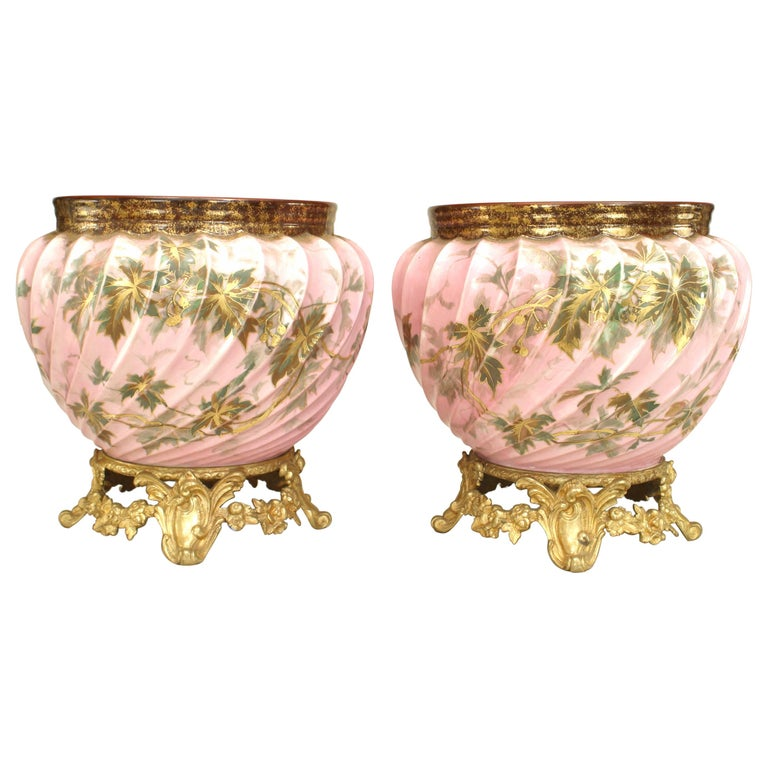 Pair of French Victorian Style Floral Fluted Design Cachepots For Sale