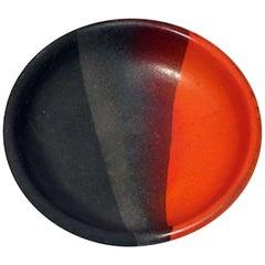 Bitossi Ceramic Bowl Orange Matte Black Signed, Italy, 1960s