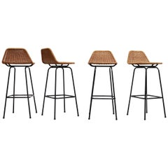 Set of 4 Charlotte Perriand Style Wicker and Chrome Bar Stools
