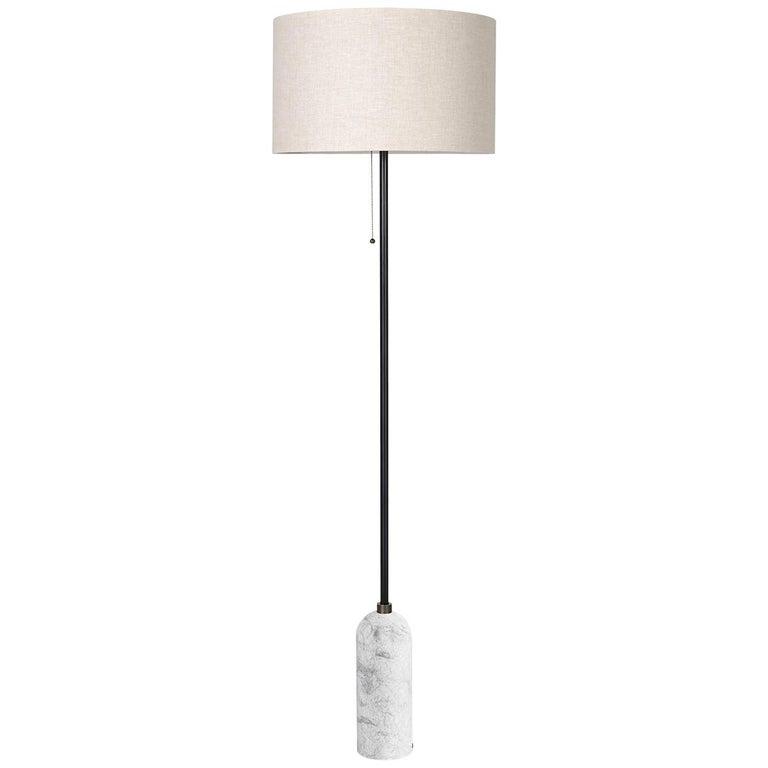 Gravity Floor Lamp, White Marble For Sale