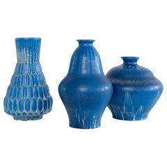 3 Eva Jancke-Bjōrk Vases in a Rich Blue Glaze Bo Fajans Scandinavian Modern
