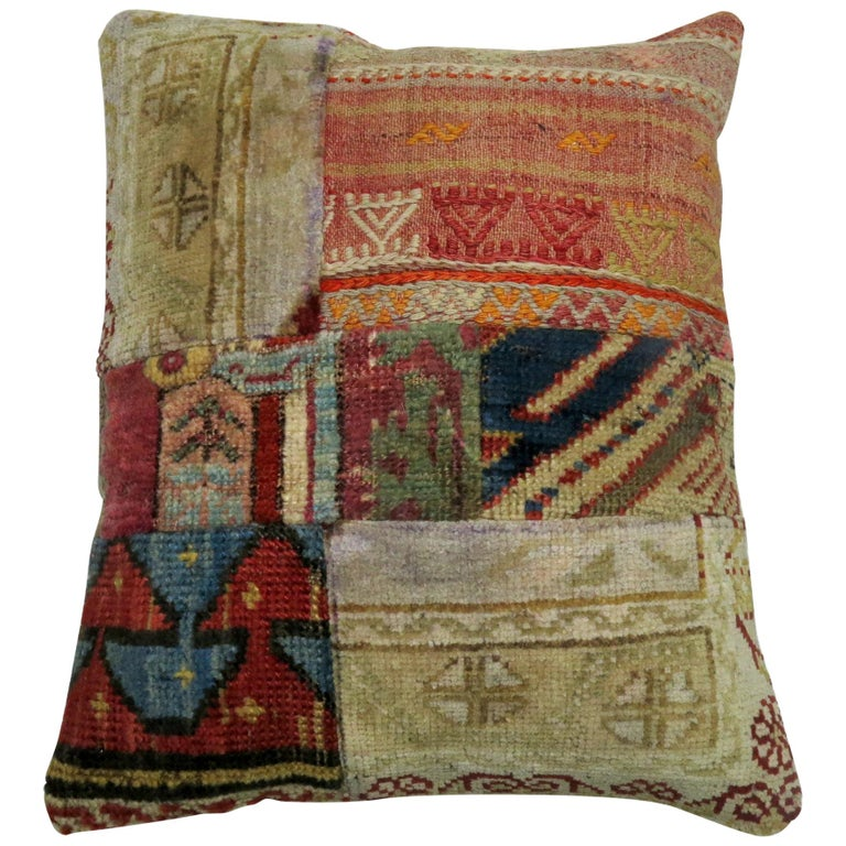 Patchwork Rug Pillow For Sale