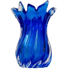 Large Blue Italian Sommerso Vase from Seguso, Murano, 1960s