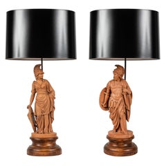 Pair of Terracotta Roman Classical Figures by L. Hjorth as Lamps