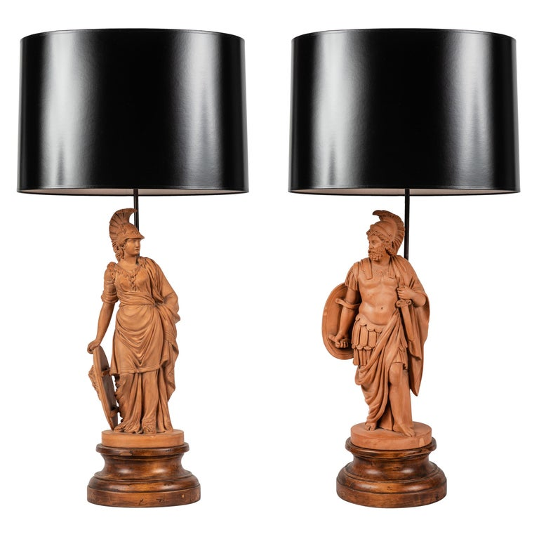 Pair of Terracotta Roman Classical Figures by L. Hjorth as Lamps For Sale