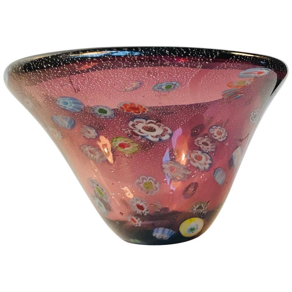 Midcentury Millefiori Murano Glass Bowl, 1970s