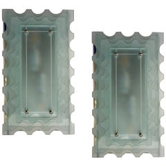 1950 Italian Pair of Aqua Art Glass Scalloped Sconces on Rectangular Nickel Base