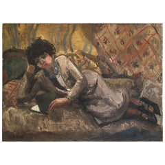 Woman Reading by Fernand Labat, Oil on Canvas Impressionist Painting Antique Art