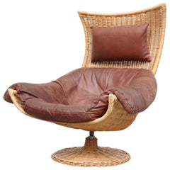 Gerard Van Den Berg Rattan and Leather Lounge Chair for Montis