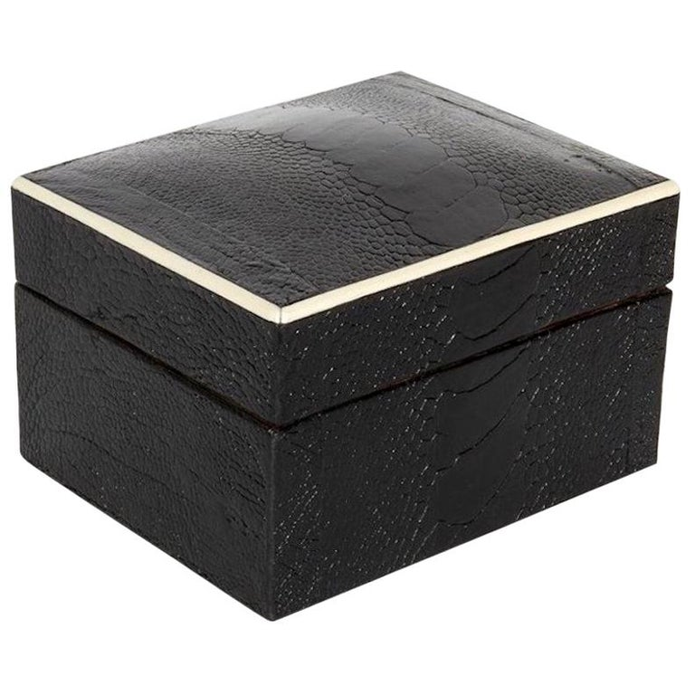 Exotic Black Ostrich Leather Decorative Box with Bone Inlay For Sale