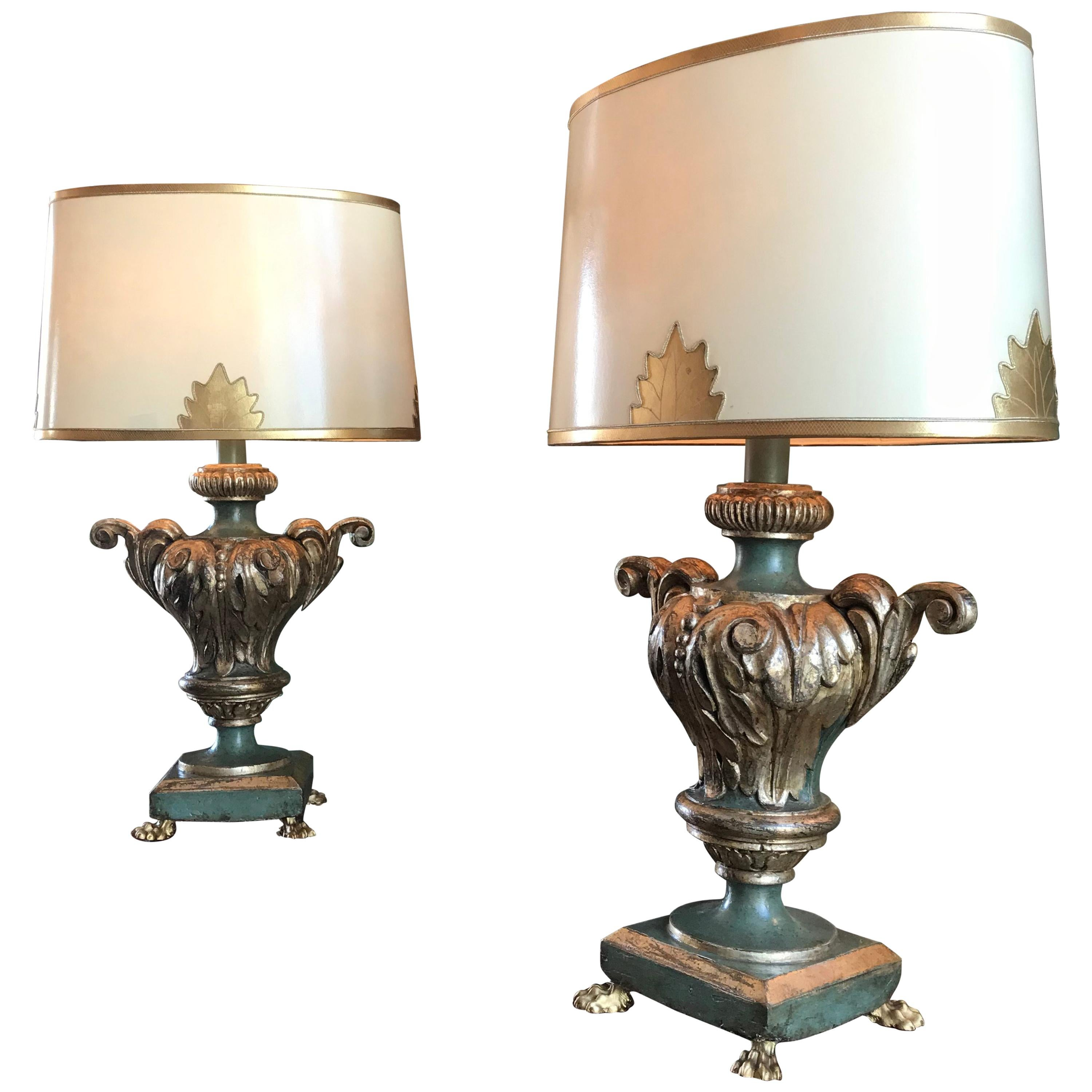 Pair 18th C. Hand Carved Wood Silvered and Painted Green Venetian Table Lamps LA