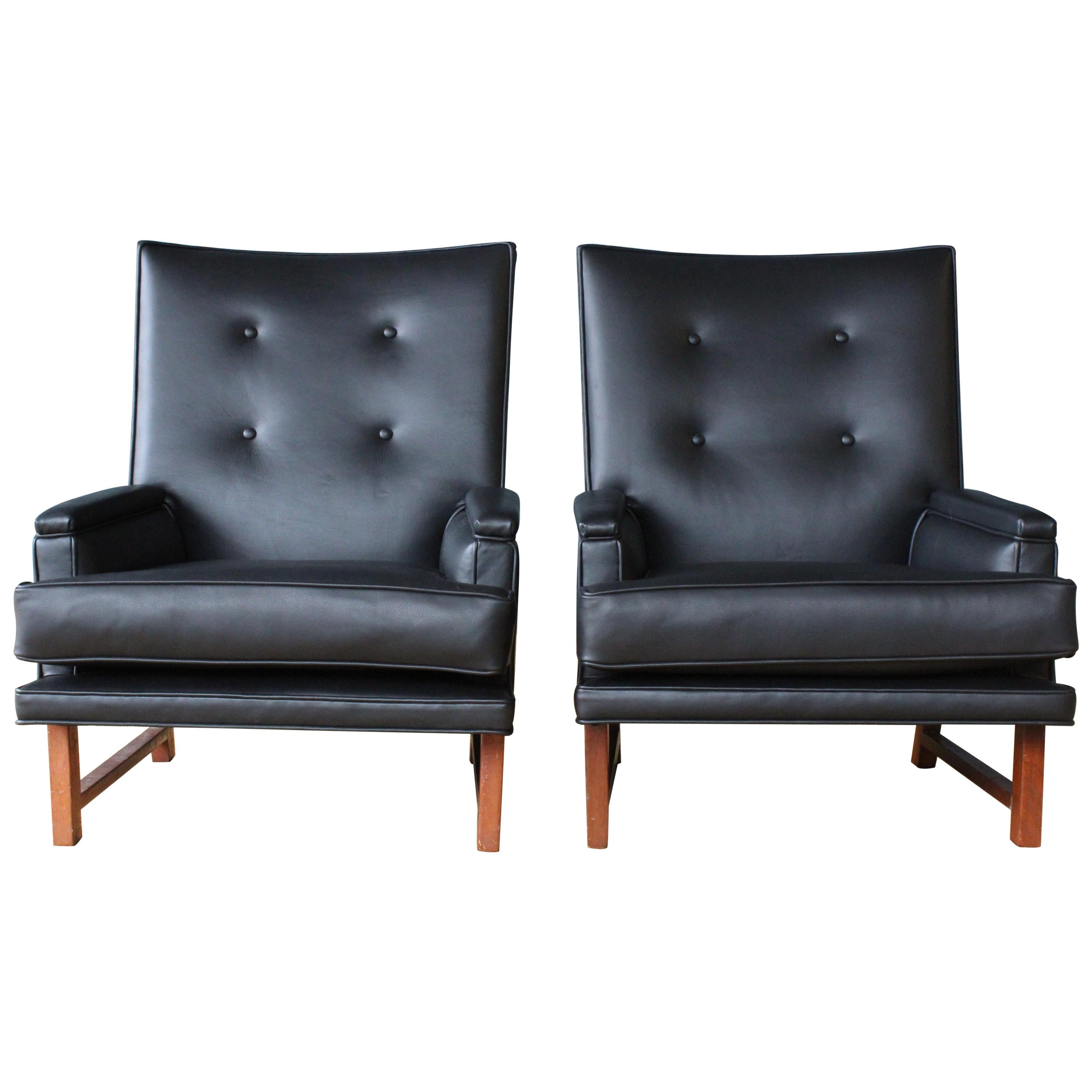 Pair of Leather Armchairs by Edward Wormley for Dunbar, USA, 1950s