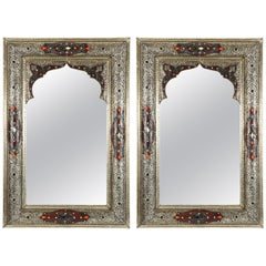 Pair of Moroccan Mirrors with Silvered Metal and Leather Wrapped