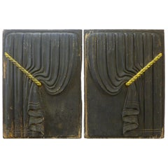 Pair of Early 20th Century Carved Wood Funeral Coach Curtain Panels