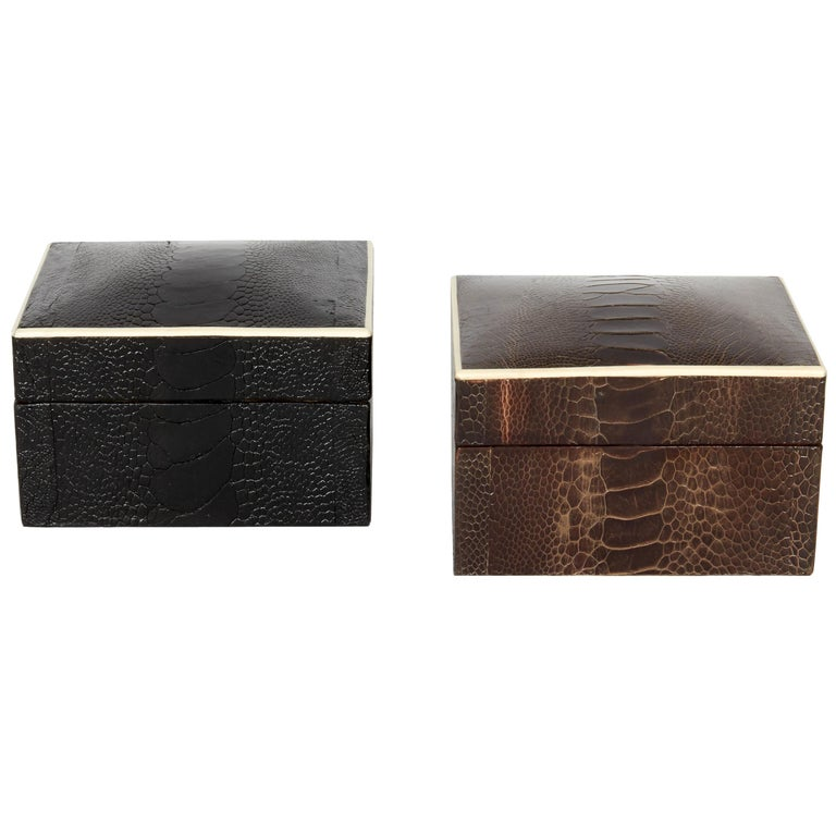 Pair of Exotic Ostrich Leather Decorative Boxes with Bone Inlay 'Black/Espresso' For Sale