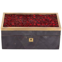 Organic Modern Decorative Box in Lacquered Pen Shell and Exotic Red Feathers