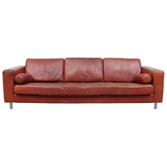 Handsome Extra Long Knoll Style Leather Sofa