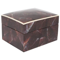 Organic Modern Lacquered Pen Shell Decorative Box with Bone Trim