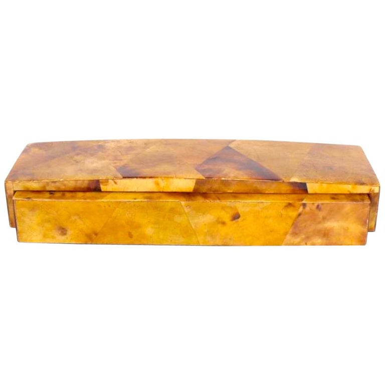 Organic Modern Mosaic Decorative Box in Tortoise Colored Pen Shell For Sale