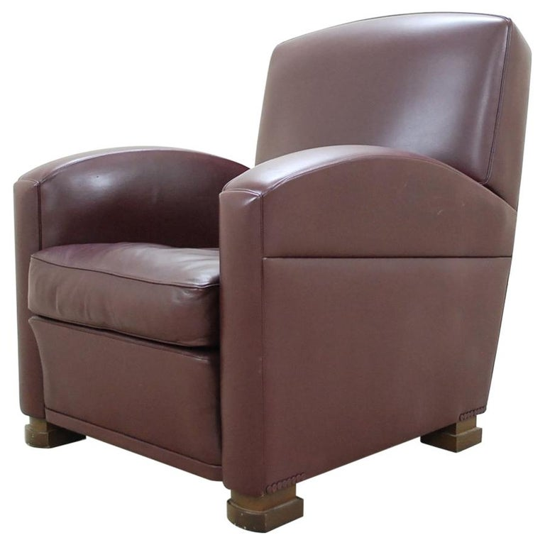Poltrona Frau Model Tabarin Leather Armchair Red Bordeaux For Sale