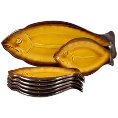 Mid-Century Vallauris Cote D'azur French Provençal Faïence Fish Service Set of 7