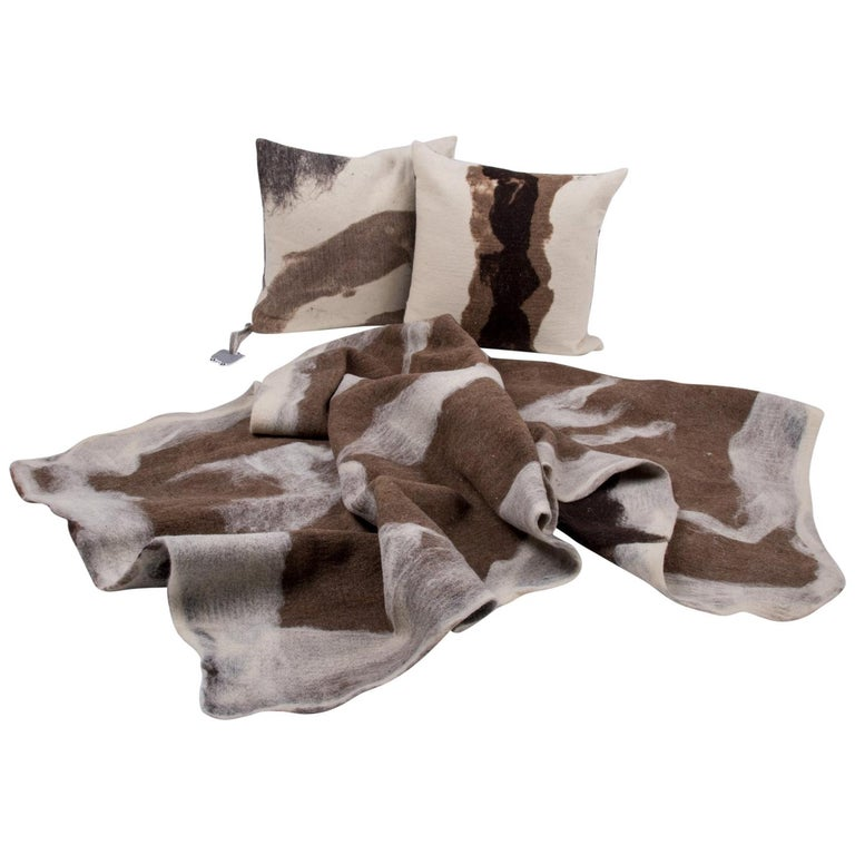 Hand-Milled Artisan Wool Pillows and Rustic Throw, Tahoe Collection For Sale