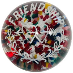 """Antique American Frit """"Friendship"""" Arrow Pierced Hearts Colorful Orb Paperweight"""